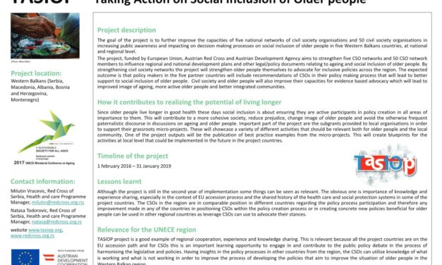 """Taking Action on """"Social Inclusion of Older People project"""" (TASIOP) at the Ministerial Conference in Lisbon"""