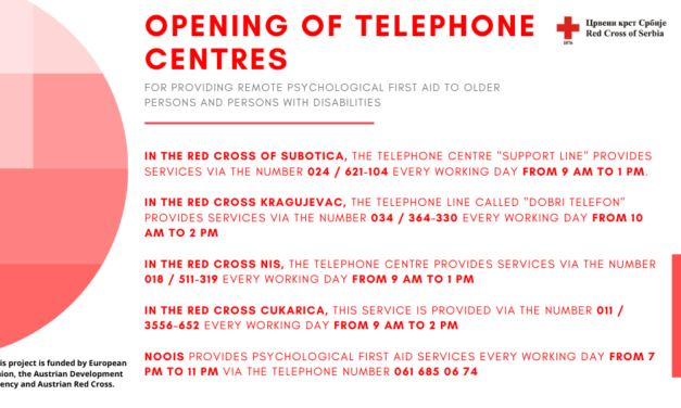 Opening of telephone centres for providing remote psychological first aid to older persons and persons with disabilities